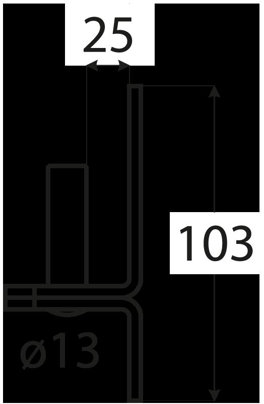 C 13/25 držák čepu d 13 mm /25 mm 2