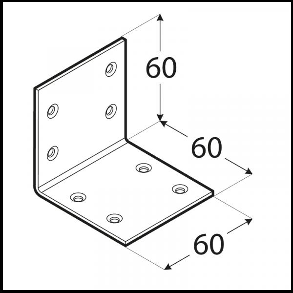KSO 3 - úhelník široký (zinc coated) 60x60x60x2,0 mm 1
