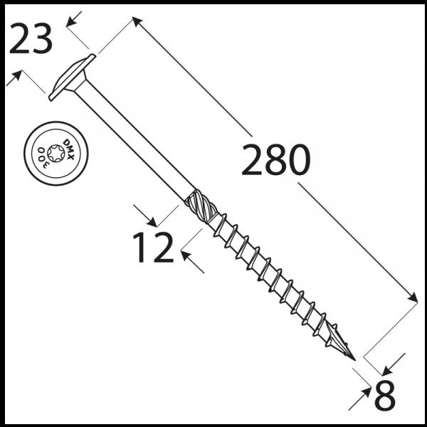 CT 08280 tesařský vrut s talířovou hlavou 8x280 50kus/bal 1