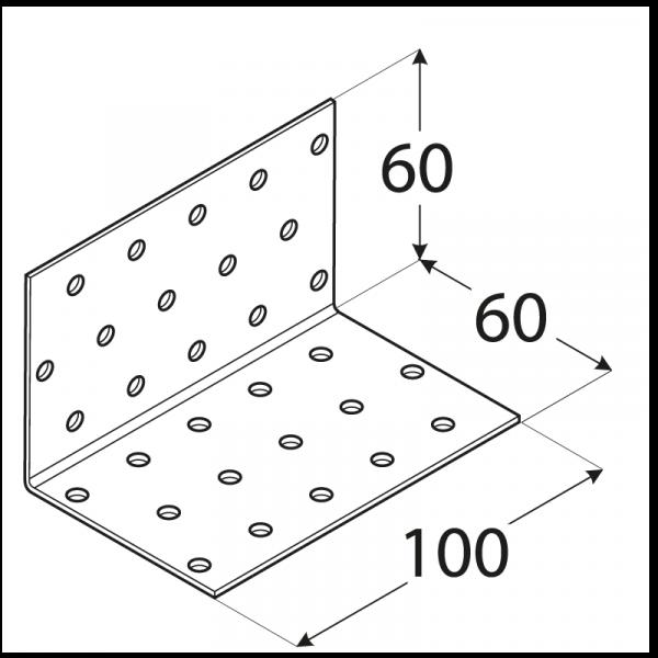 KM6 - úhelník montážní 60x60x100x2,0 mm 1