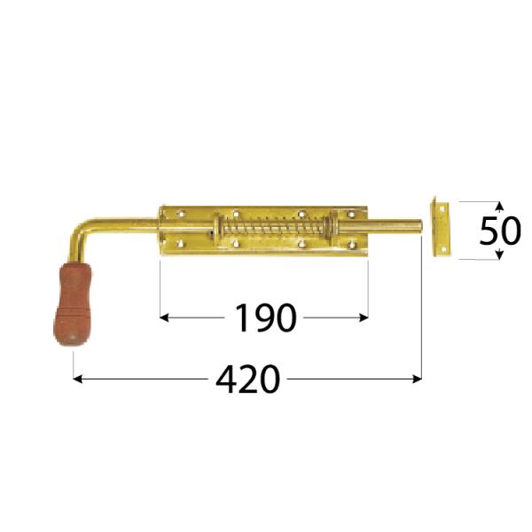 WSP 420 Zástrč pružinová s dřev. koncovkou 420x50 mm 1