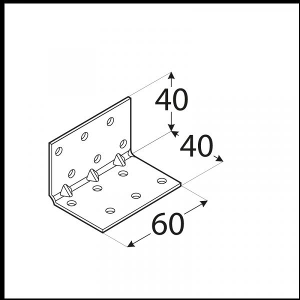 KMP 2 - úhelník montážní s prolisem 40x40x60x1,5 mm 1