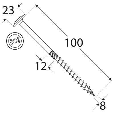 CT 08100 tesařský vrut s talířovou hlavou 8×100 50kus/bal