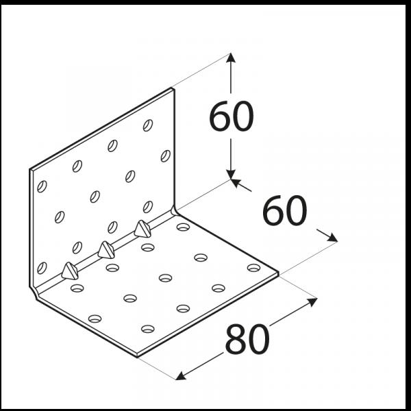 KMP 6 - úhelník montážní s prolisem 60x60x80x1,5 mm 1