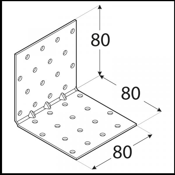 KMP 9 - úhelník montážní s prolisem 80x80x80x1,5 mm 1
