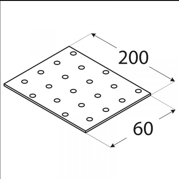 PP7 - destička perforovaná 200x60x2,0 mm 1