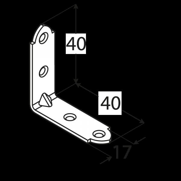 KW2 - úhelník úzký40x40x17x1,5 mm 1