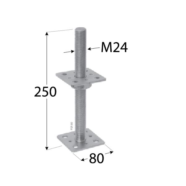 PSR 80 (80*250) Patka sloupku stavitelná šroubem d24 1