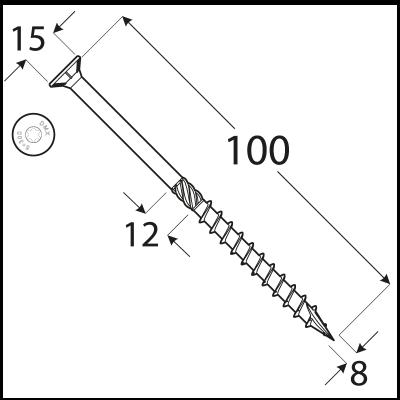 CS 08100 tesařský vrut se zapuštěnou hlavou  8×100 100kus/bal