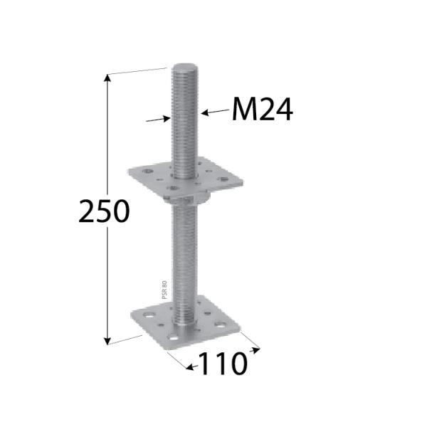 PSR 100 (10*250) Patka sloupku stavitelná šroubem d24 1
