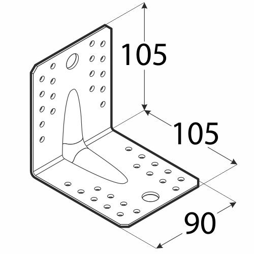 KP2 - úhelník s prolisem 105x105x90x2,5 mm 1