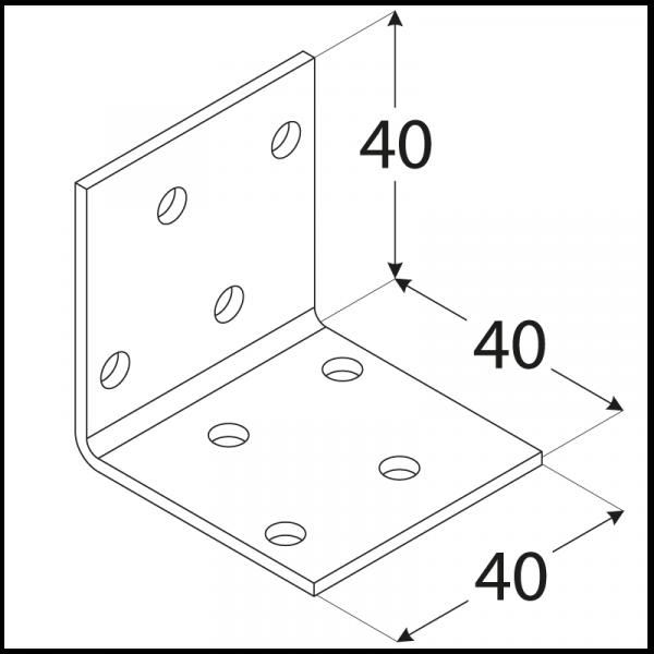KM1 - úhelník montážní 40x40x40x2,0 mm 1