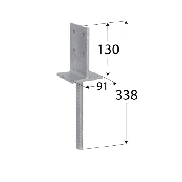 PSW 90 (90*130*8) Patka sloupku 90 zapuštěná 2