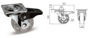 Kolec. Shift transp. s brzdou, pr.50mm, 30kg