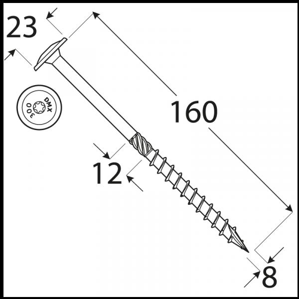 CT 08160 tesařský vrut s talířovou hlavou 8x160 50kus/bal 1