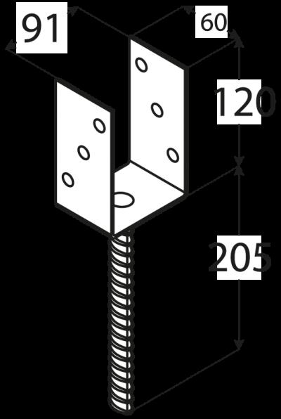 """PS  90U (91*120*5) Patka sloupku 90 typu """"U"""""""