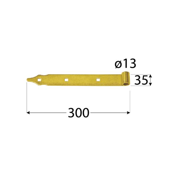 ZP 300 d 13 c  Závěs pásový 300x35/4,0 d 13 mm černý 1