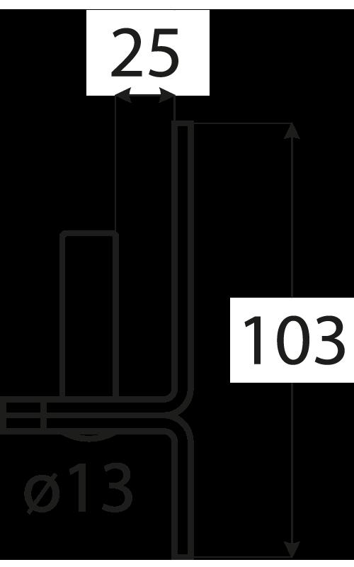 C 13/25c držák čepu d 13 mm /25 mm černý 1