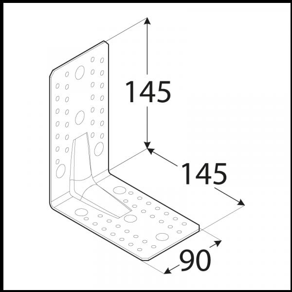 KP7 - úhelník s prolisem 145x145x90x2,5 mm 1
