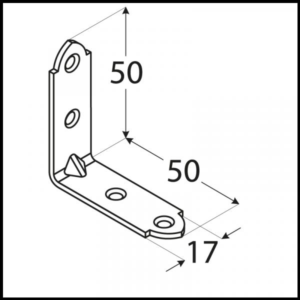 KWO 3 / KW 50 - úhelník úzký50x50x17x2,0 mm (zinc coated) 1