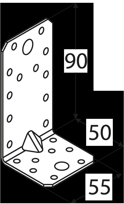KP3 - úhelník s prolisem 90x50x55x2,5 mm 1