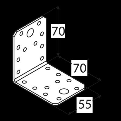 KL2 – úhelník spojovací 70x70x55x2,5  mm