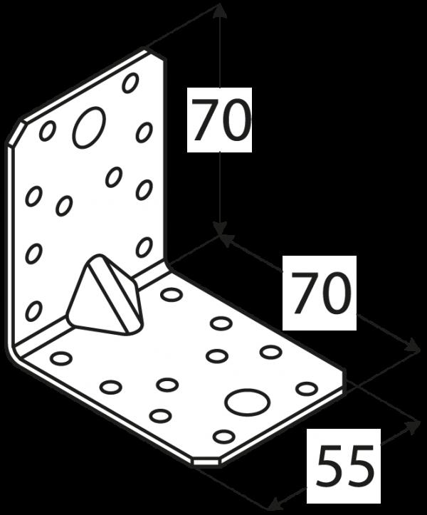 KP4 - úhelník s prolisem 70x70x55x2,5 mm 1