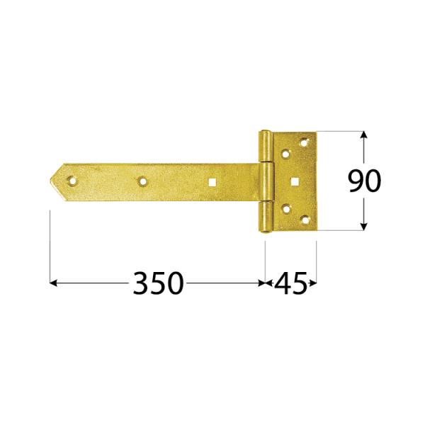 ZB 350 Závěs brankový 350x45x90x35x3,0 mm 1