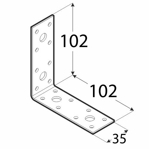 KL6 - úhelník spojovací 102x102x35x2,5 mm 2