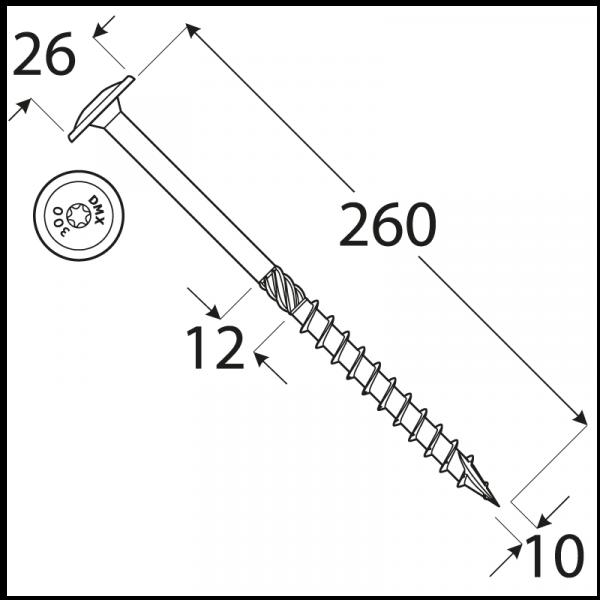 CT 10260 tesařský vrut s talířovou hlavou 10x260 25kus/bal 1