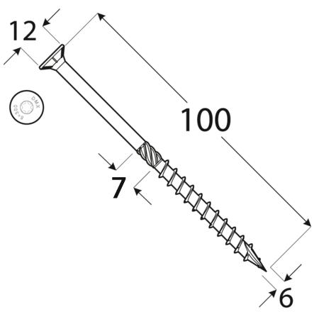 CS 06100 tesařský vrut se zapuštěnou hlavou 6x100 100kus/bal 1