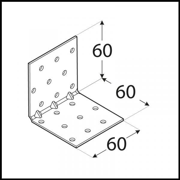 KMP 5 - úhelník montážní s prolisem 60x60x60x1,5 mm 1