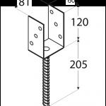 """PS 80U (81*120*5) Patka sloupku 80 typu """"U"""" 2"""