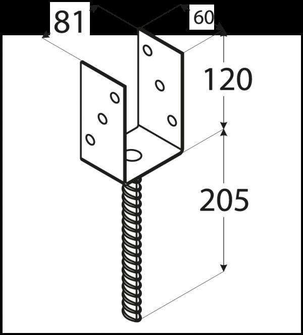 """PS 80U (81*120*5) Patka sloupku 80 typu """"U"""" 1"""