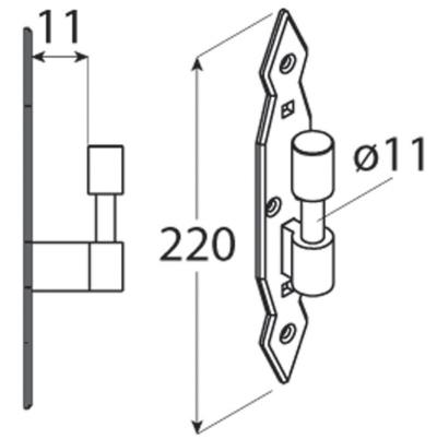 CA 11  Držák čepu dekorační 11x220x5