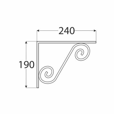 WOZ 240 HB konzole dekorativní kovaná 240×190 gradovaná černá