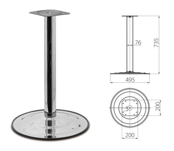 Stol.noha centralni 735*76mm /480mm chrom 1