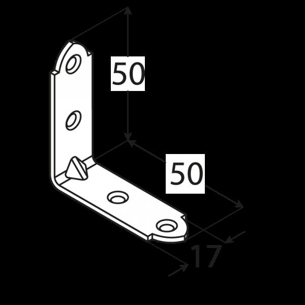 KW3 - úhelník úzký50x50x17x2,0 mm 1