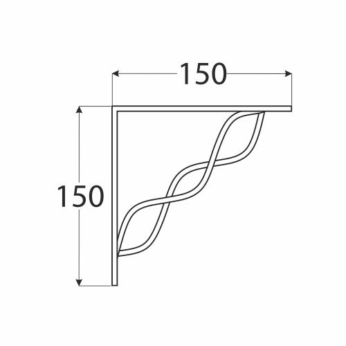 WPRP 150 konzole se splétanou vzpěrou 150x150 černá 1