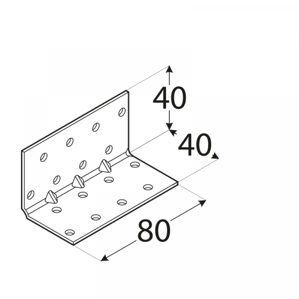 KMP 3 - úhelník montážní s prolisem 40x40x80x1,5 mm 1
