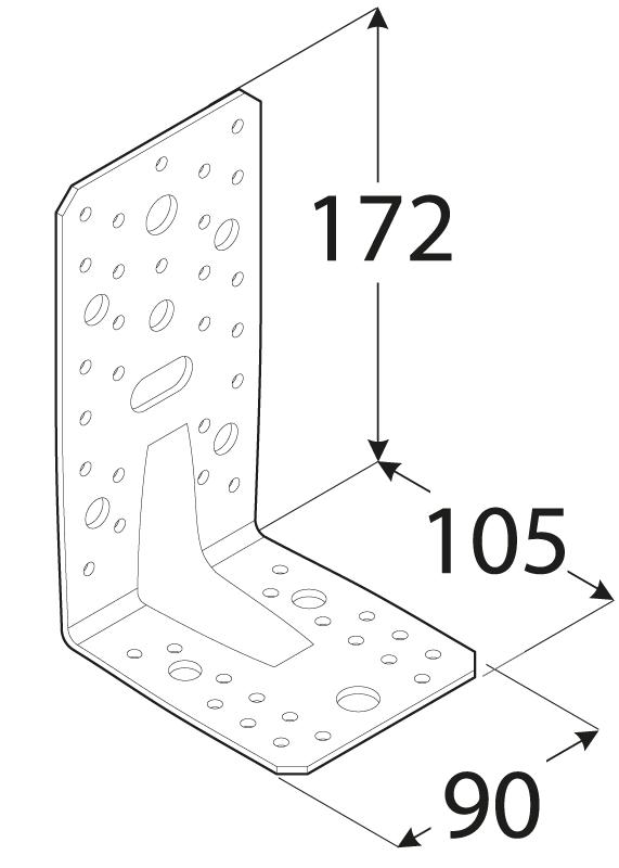 KP6 - úhelník s prolisem 172x105x90x3 mm 1