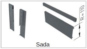 AXISpro vnitř. zásuvka D1 sada = čelní panel+držák+reling čel. panelu 110/1200mm Bílá